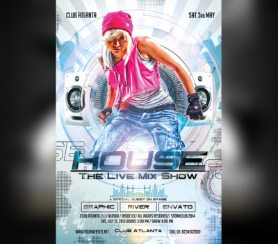 Dj House Electro Party Flyer Template